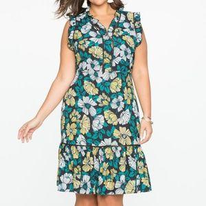 ELOQUII Sleeveless Printed Dress with Ruffle Trim
